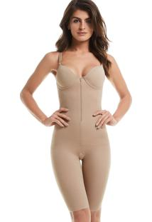 Body Modelador Com Perna Bojo E Ziper Mondress Lingerie Bege