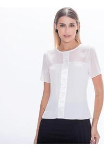 Blusa Leve Transparência Com Detalhe Em Listra De Cetim Kadoche Feminina - Feminino-Off White