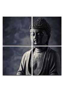 Quadro Oppen House 80X80Cm Estátua De Buda Decorativo Interiores Salas Cinza