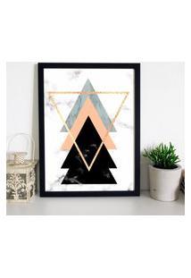 Quadro Decorativo Com Moldura Escandinavo Triângulos Preto - 20X25Cm