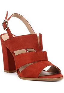 Sandália Shoestock Salto Alto Nobuck Feminina - Feminino-Caramelo