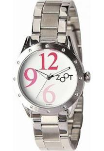 Relógio Feminino Zoot Casual Big Numbers Zw10095-F - Feminino-Prata