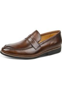 Sapato Social Linha Premium Loafer Sandro Moscoloni 16116 Marrom Escuro