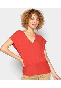 Blusa Colcci Cavada Gola V Feminina - Feminino-Vermelho