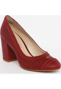 Sapato Tradicional Em Couro Com Microfuros - Vermelho