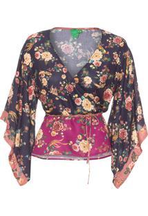 Blusa Feminina Patch Revoada Floral - Preto
