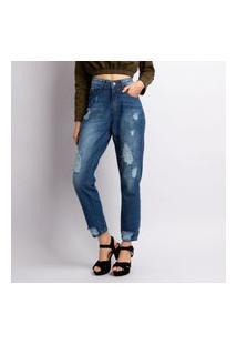 Calça Jeans Mom Feminina Destroyed Azul Estonado