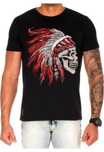 Camiseta Lucas Lunny T Shirt Estampada Caveira Cocar Vermelho Preto