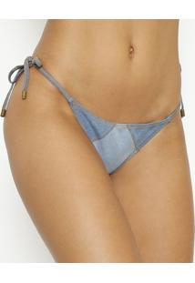 Calcinha Tanga Em Jeans- Azul Claro & Marrom- Vixvix