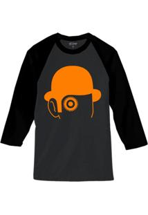 Camiseta Raglan Hshop Laranja Mecânica Cinza
