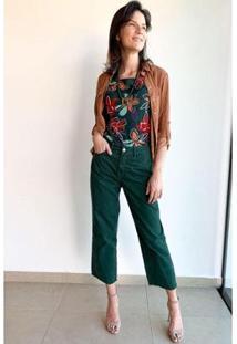 Calça Reta Cropped Cintura Alta Sarja Algodão Ervadoce Feminina - Feminino
