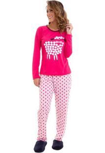 Pijama Feminino De Inverno Ovelha Luna Cuore