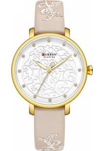 Relógio Curren Analógico C9046 - Dourado E Bege