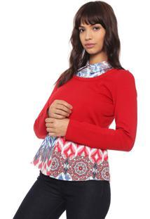 Camisa Enfim Recortes Vermelha
