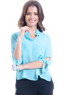 Camisa 101 Resort Wear Lisa Crepe Polo Laco Mangas 34 Azul Claro - Azul - Feminino - Dafiti