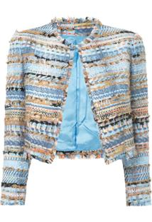 Isabel Sanchis Jaqueta Cropped De Tweed - Azul