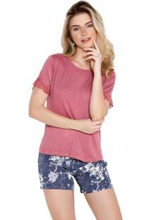 Pijama Curto Inspirate Feminino - Feminino-Rosa
