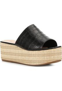 Tamanco Shoestock Flatform Slide - Feminino-Preto