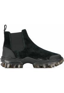 Moncler Ankle Boot Com Recortes - Preto