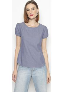 Blusa Jeans Com Botãµes-Azulvip Reserva