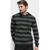 1d3167129 Blusa Tricot Aleatory Listrada Capuz Masculina - Masculino-Preto+Verde