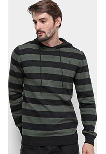 Blusa Tricot Aleatory Listrada Capuz Masculina - Masculino-Preto+Verde