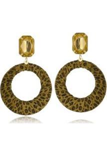 Brinco Le Diamond Geométrico Animal Print - Feminino-Dourado