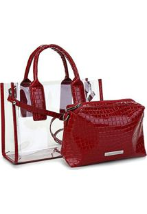 Bolsa Loucos & Santos Shopper Croco Verniz Feminina - Feminino-Vermelho