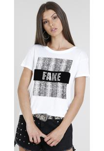 Blusa Feminina Com Estampa Animal Print Manga Curta Decote Redondo Off White