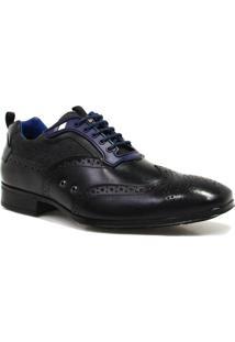 Sapato Zariff Shoes Social Brogue Couro - Masculino-Preto