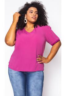 Blusa Almaria Plus Size Enois Lisa Pink