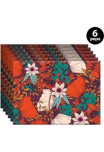 Jogo Americano Mdecore Floral 40X28Cm Vermelho 6Pçs