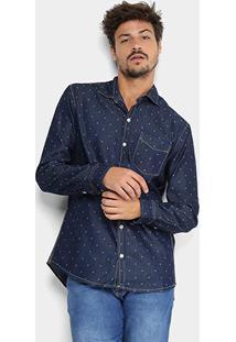 Camisa Jeans Manga Longa Preston Pespontos Bolso Masculina - Masculino-Azul Escuro