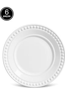 Prato De Sobremesa Porto Brasil Atenas 6Pçs Branco
