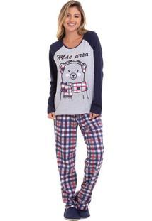 Pijama De Inverno Mãe Ursa Feminino Com Algodão Luna Cuore