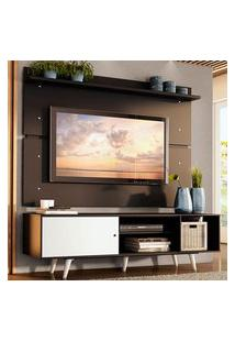 Rack Madesa Dubai E Painel Para Tv Até 65 Polegadas Com Pés - Preto/Branco 7777 Preto