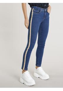Calça Jeans Feminina Skinny Com Faixa Lateral Azul Escuro