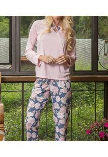 Pijama Longo Floral Lua Cheia (9058) Poliviscose