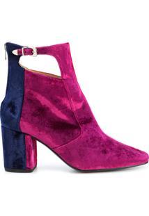 Toga Pulla Ankle Boot De Camurça E Couro - Pink & Purple