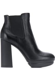Hogan Ankle Boot Com Salto Bloco - Preto