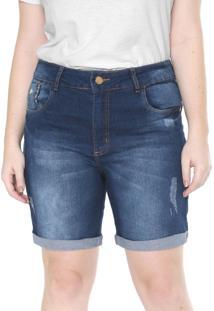 Bermuda Jeans Plus Size Da Vgi Azul - Azul - Feminino - Dafiti