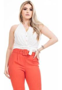 Blusa Clara Arruda Cintura Laço Feminina - Feminino