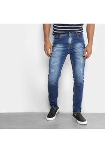Calça Jeans Slim Oxmo Estonada Puídos Masculina - Masculino