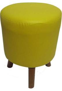 Puff Banqueta Round 3 Pés Madeira Corano Amarelo - Markine Mobilier