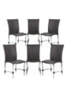 Cadeiras 6Un Para Area Varanda Fibra Sintetica Sala Cozinha Jardim Sacada Florida - Tabaco
