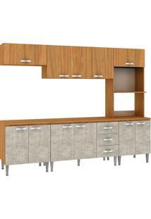 Cozinha Compacta Master Com Tampo Cm03T Nogal/Concreto - Fellicci