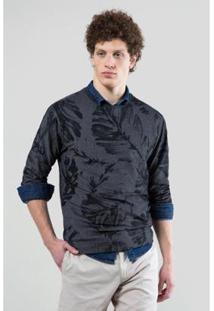 Camiseta Reserva Pique Folhas Negras Masculina - Masculino-Preto
