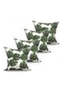 Conjunto De Capas De Almofadas Com 4 Peças Folhas Branco E Verde 60X60 Cm