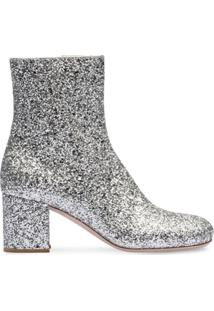 Miu Miu Ankle Boot Com Aplicação De Brilho - Prateado