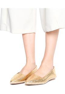 Sapatilha Petite Jolie Recortes Dourada